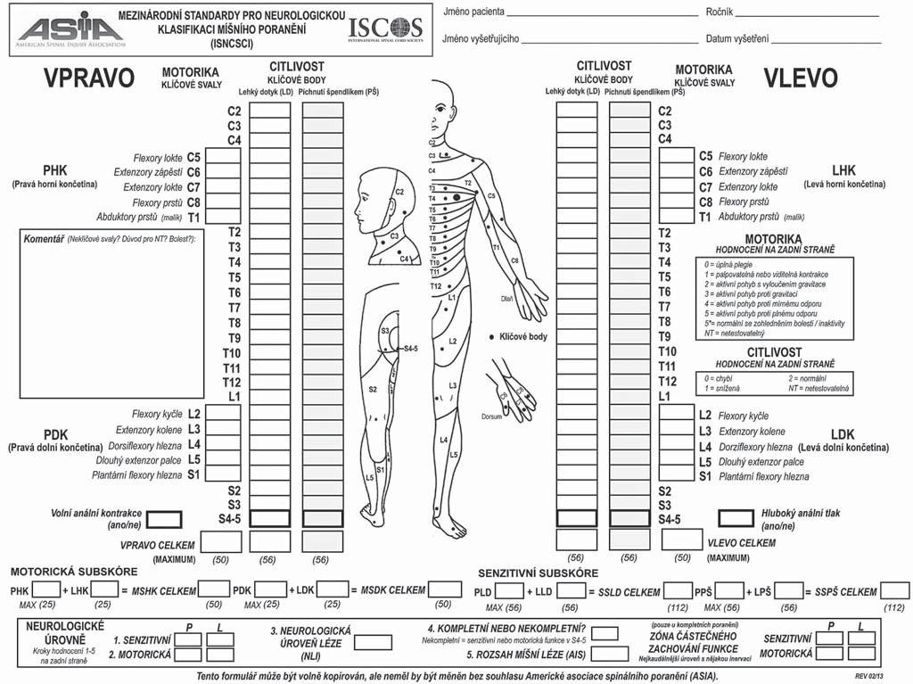 Mezinárodní standardy pro neurologickou klasifikaci míšního poranění (ISNCSCI).