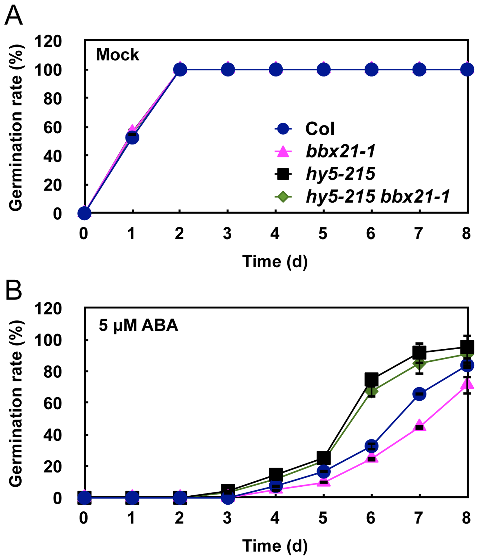 The <i>hy5 bbx21</i> mutants are insensitive to ABA during germination.