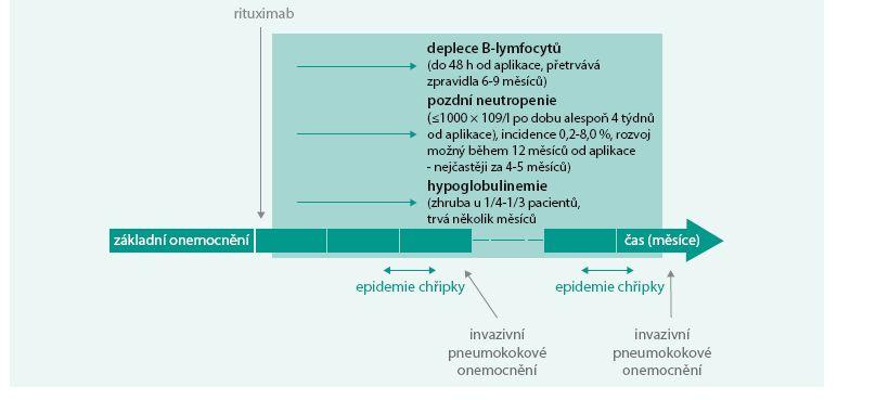Schéma. Negativní vlivy léčby rituximabem na funkce imunitního systému a ideální interval pro vakcinační prevenci