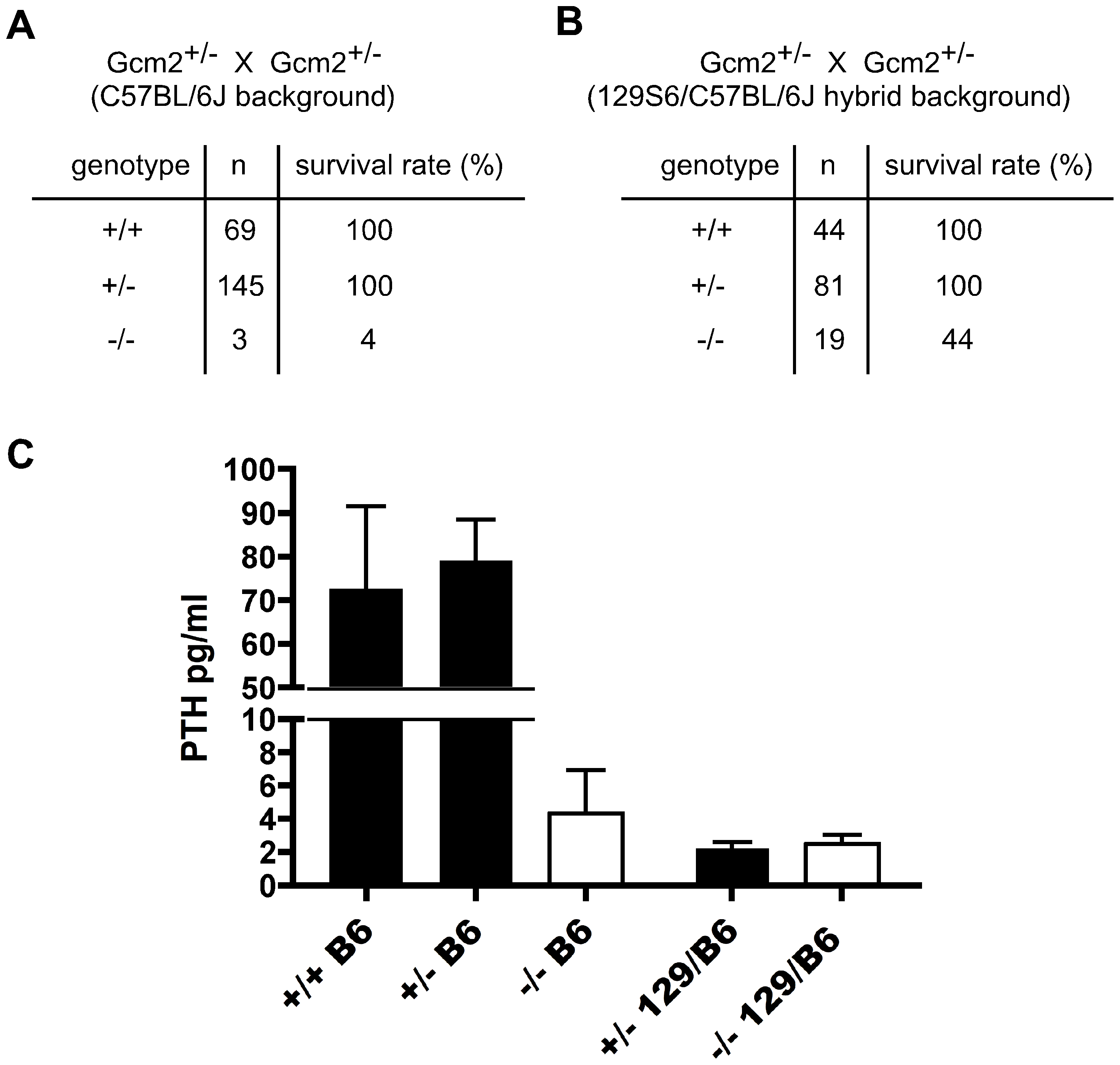 Increased lethality of aparathyroid <i>Gcm2</i><sup>−/−</sup> mutants on the C57BL/6J background is unrelated to serum PTH levels.