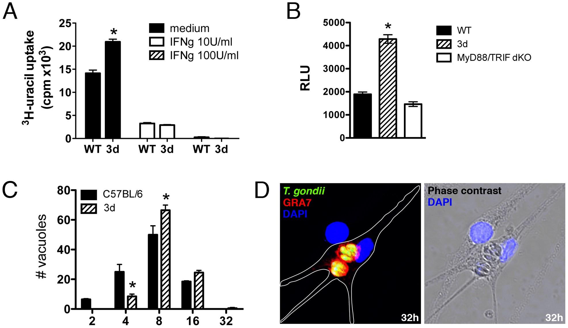 UNC93B1 mediates host cell resistance to infection with <i>T. gondii</i> through an IFNγ–independent mechanism.