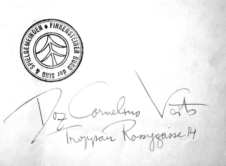 Detail podpisu Cornelia Veitse a razítka spolku Finkensteiner Bund ze spolkové korespondence (foto P. Tesař).