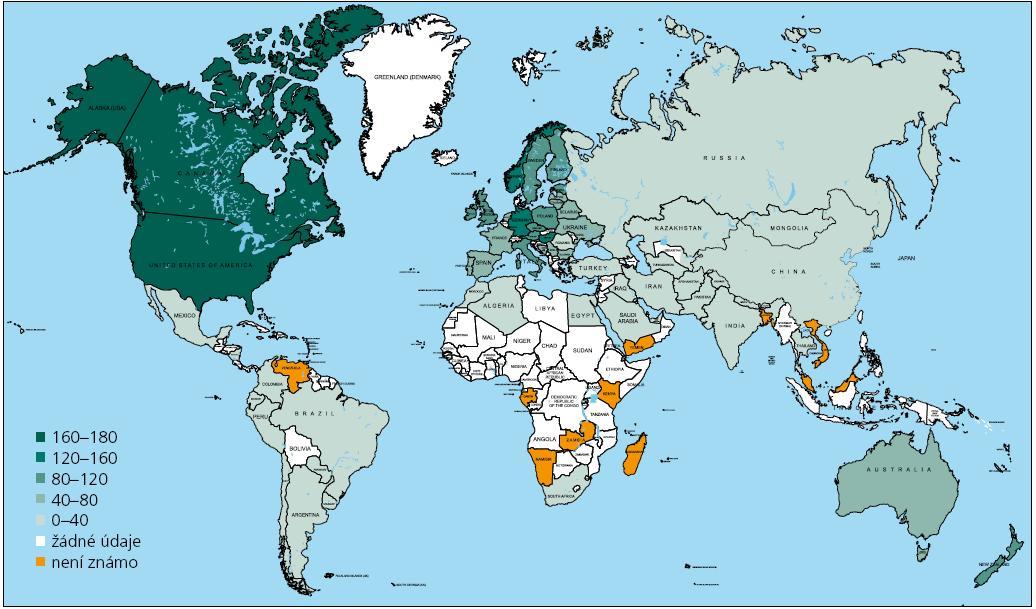 Výskyt RS ve světě v roce 2008 [7].
