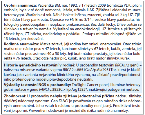 Kazuistika 2. Kazuistika pacientky s <em>FANCI</em> mutací.
