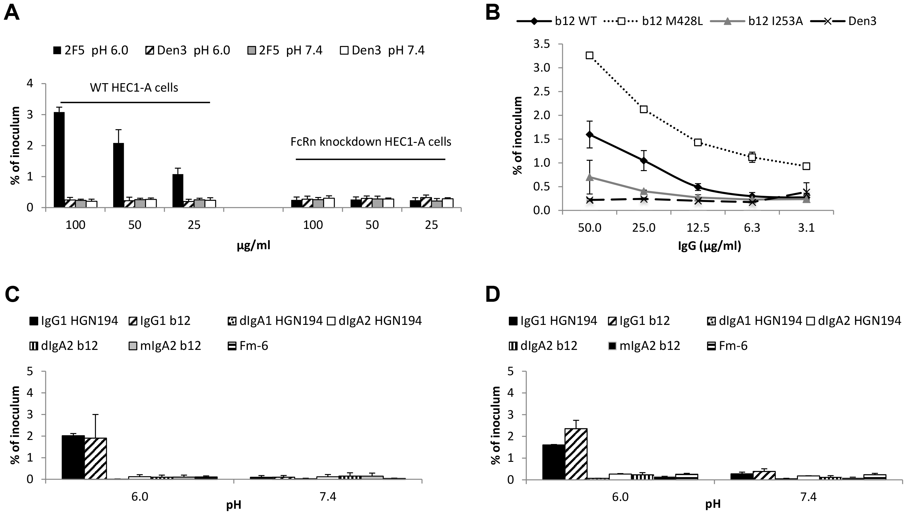FcRn is responsible for pH/antibody-mediated enhanced transcytosis of HIV-1.