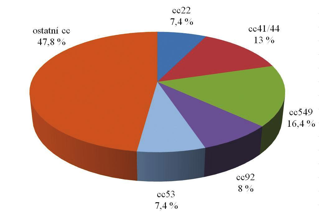 Zastoupení klonálních komplexů u izolátů N. meningitidis NG od zdravých nosičů v České republice za období 1971–2014 (květen), n = 299 Fig. 5. Clonal complex distribution of N. meningitidis NG from healthy carriers obtained in the Czech Republic in 1971–2014 (May), n = 299