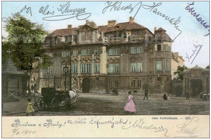 Pohlednice z roku 1900 s motivem Faustova domu, tehdy ústavem pro hluchoněmé.