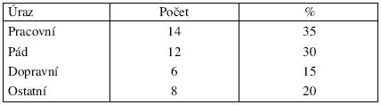 Rozdělení úrazů v roce 2005 podle Gustilovy klasifikace
