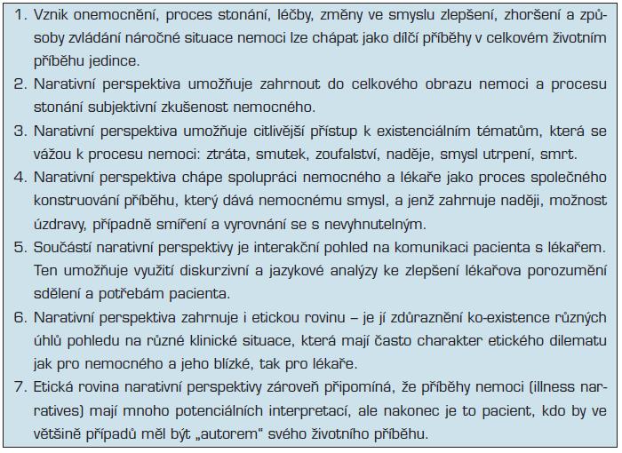 Základní prvky narativní perspektivy v medicíně (s úpravami a doplněním dle 24,25, 26, 27)