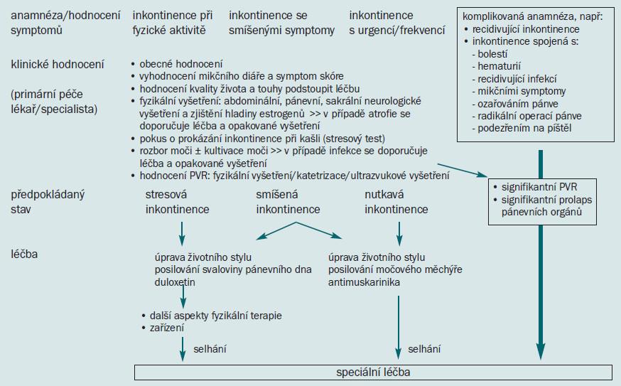 Schéma 2. Počáteční řešení močové inkontinence u žen.