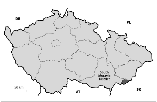 Map of Czech Republic with highlighted district borders. The dark gray area in the lower right is the Hornacko region.