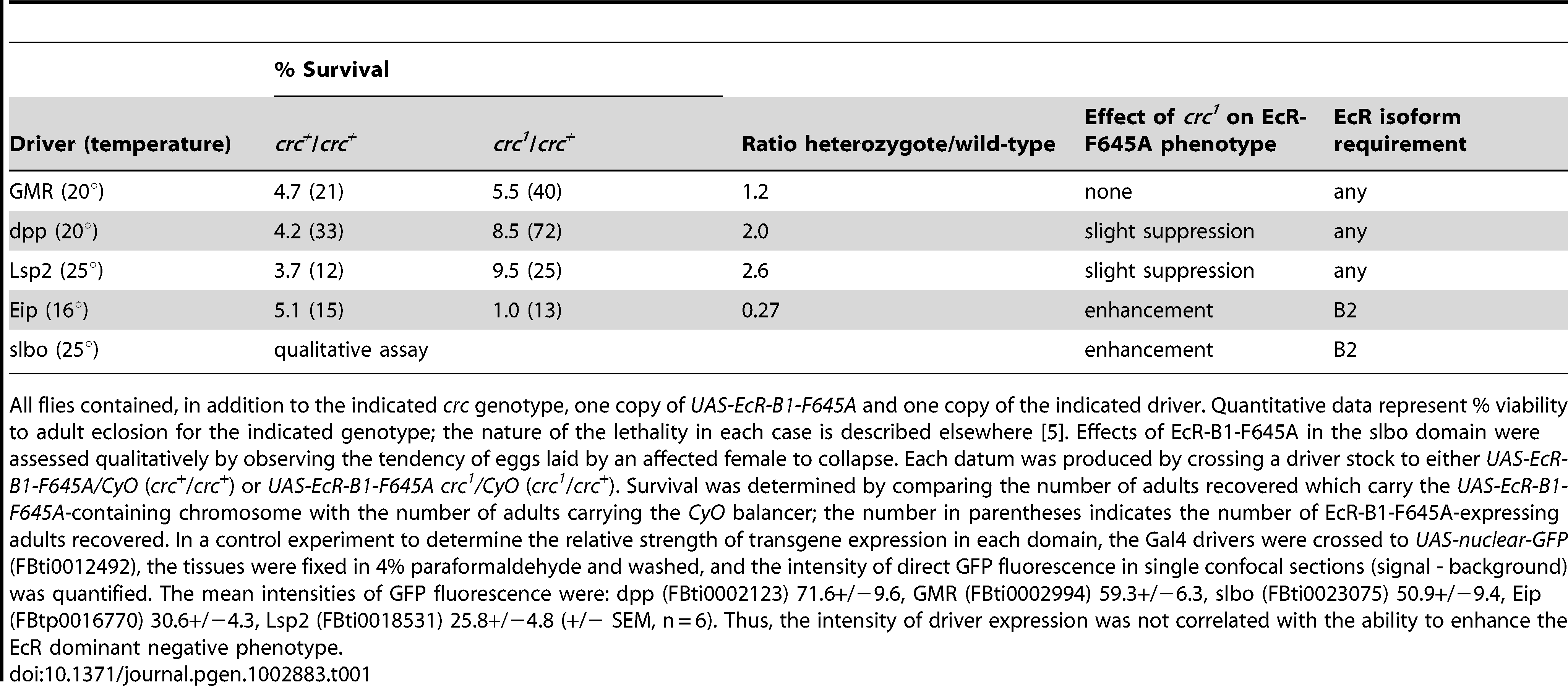 Dominant effects of <i>crc<sup>1</sup></i> on the phenotypes of EcR-B1-F645A expression.