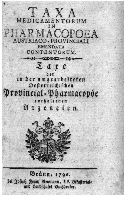 Titulní list brněnské taxy z roku 1796