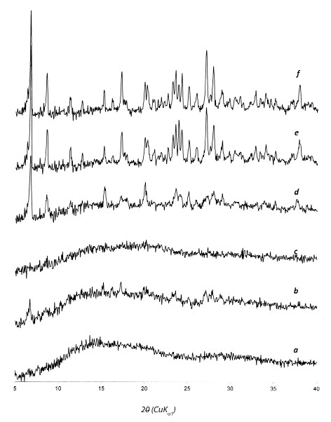 Fig. 3. XRPD spectra of (a) Eudragit<sup>®</sup> RS PO, (b) 1:9 (w/w) DS/ERS physical mixture, (c) 1:9 (w/w) DS/ERS co-evaporate, (d) DS/ERS 1:1 (w/w) co-evaporate, (e) diclofenac sodiumevaporate from methanol and (f) diclofenac sodium raw
