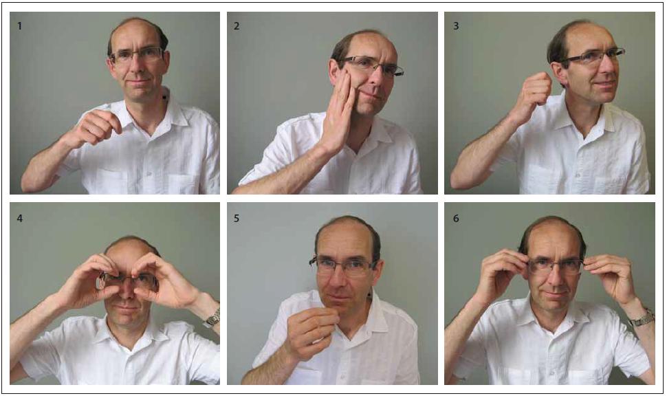 Šest gest symbolizujících lidské smysly k testování epizodické paměti testem TEGEST jsou v pořadí, jako by byly uspořádány do kruhu od úst (1. chuť – jíte lžící) přes tvář (2. hmat – hladíte se po tváři), ucho (3. sluch – telefonujete), oči (4. zrak – díváte se dalekohledem) k nosu (5. čich – přičichnete ke květině). Nakonec se přidává jedno gesto týkající se znovu zraku (6. nasadíte si brýle). Fig. 1. Six gestures symbolizing the human senses to test the episodic memory with the TEGEST test are in order as if they were arranged in a circle starting near the mouth (1. taste – you are eating with the spoon) and across the face (2. touch – you stroke your own face), the ear (3. hearing – you are making a phone call), the eyes (4. sight – you are looking through binoculars) and up to the nose (5. smell – you are smelling a fl ower). Finally, one gesture related to sight is added (6. you are putting on your glasses).