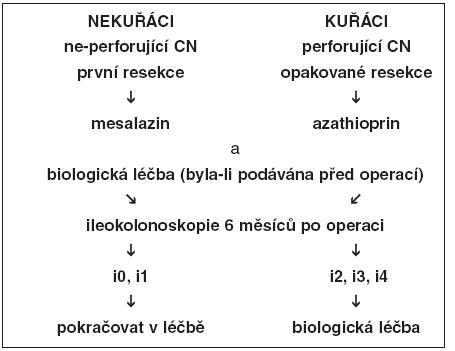 Algoritmus léčby pooperační rekurence založený zejména na endoskopickém nálezu v ileu