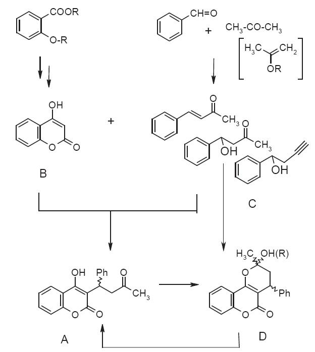 Schéma syntézy warfarínu