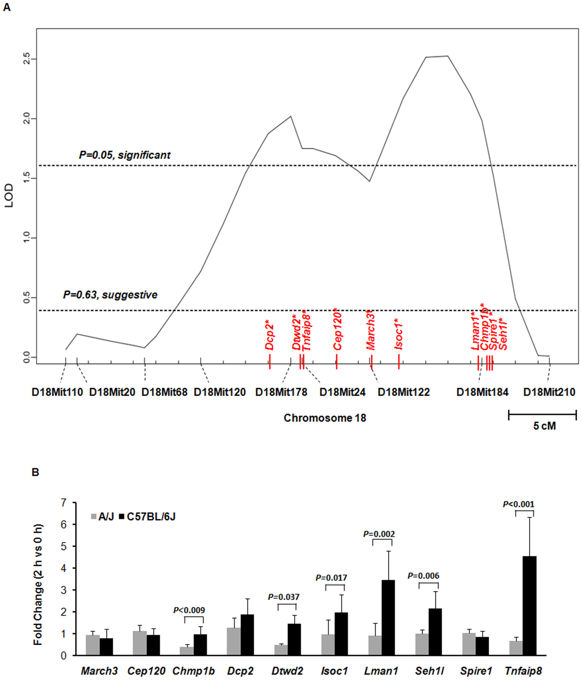Ten genes on chromosome 18 were identified by both QTL mapping and expression array for susceptibility to <i>S. aureus</i>.