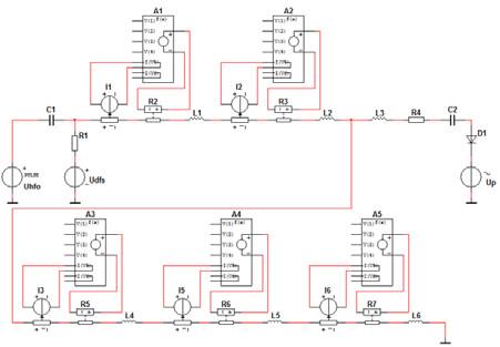 Fig. 3: The final model of the ventilator circuit of Sensormedics 3100 implemented in Multisim [5].