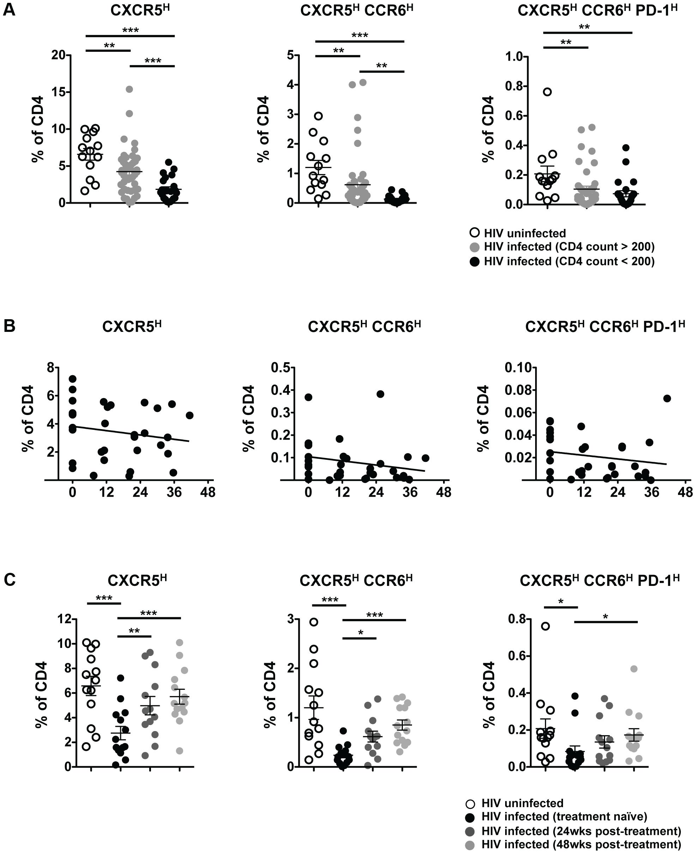 Progressive loss of pT<sub>FH</sub> cells in HIV infection.