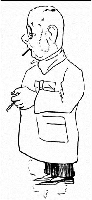 Profesor Jesenský v karikatuře studujícího medicíny V. Holzera z roku 1932