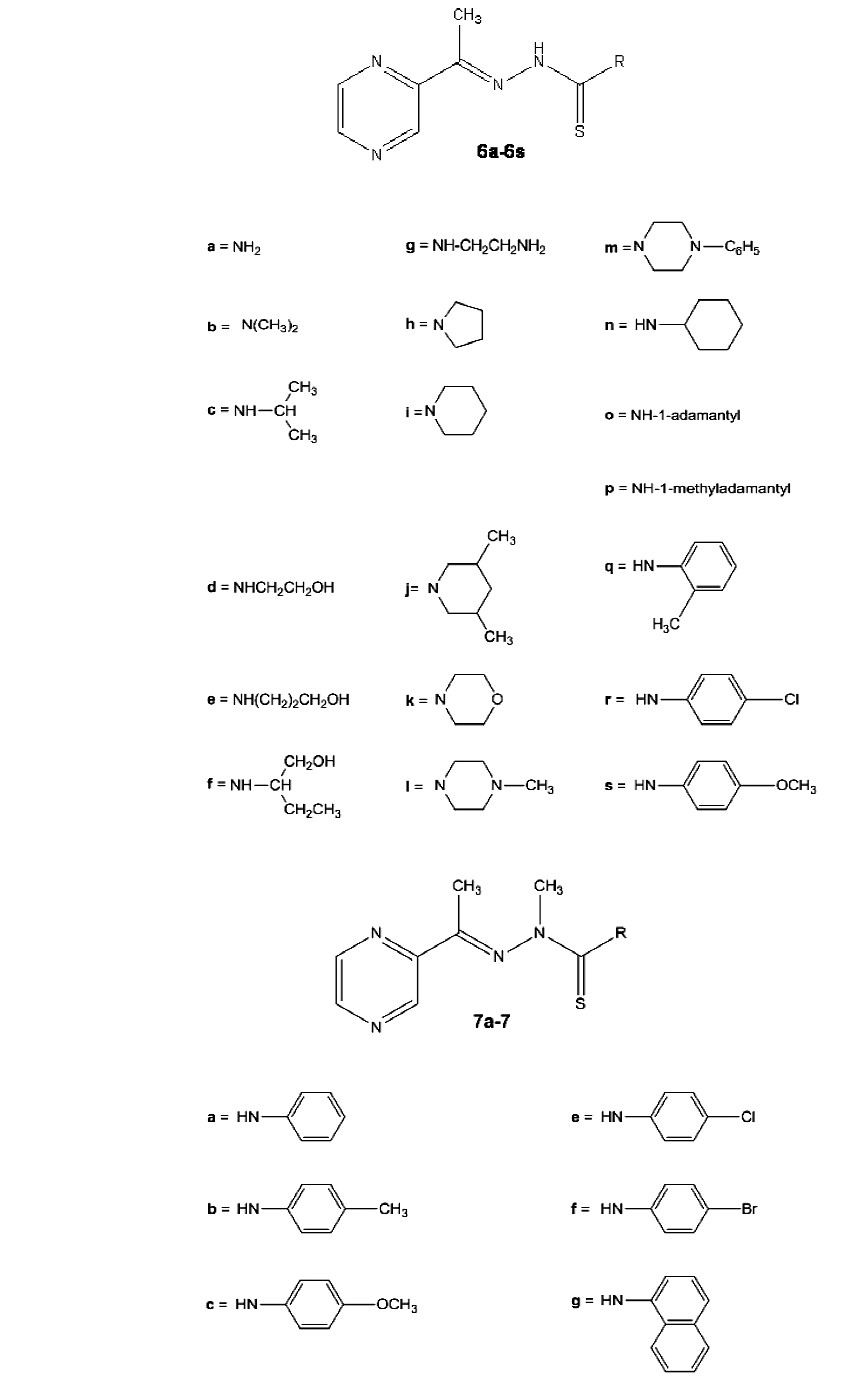 Fig. 3. Acetylpyrazine thiosemicarbazones modified in the thiosemicarbazide moiety