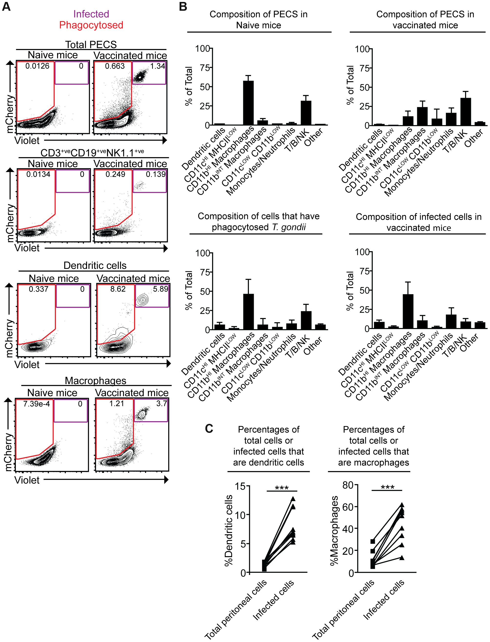 Composition of total cell populations, mCherry<sup>+ve</sup>Violet<sup>−ve</sup> cell populations, and mCherry<sup>+ve</sup>Violet<sup>+ve</sup> populations from the PECS of naïve and vaccinated mice.