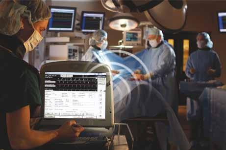 Schéma bezdrátové komunikace mezi ICD programátorem a implantovaným ICD (firma Medtronic).