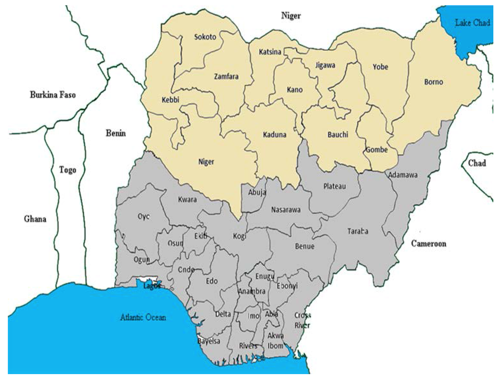 Poliomyelitis-prevalent states of northern Nigeria.