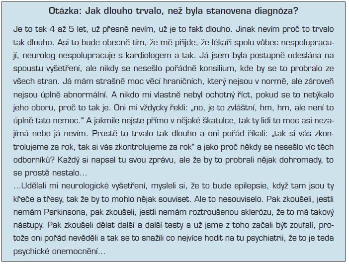 Subjektivní zkušenost s procesem vyšetření, stanovením diagnozy a s přístupem lékařů (34)