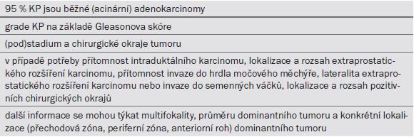 Tab. 6.6. Informace uvedené v patologické zprávě.