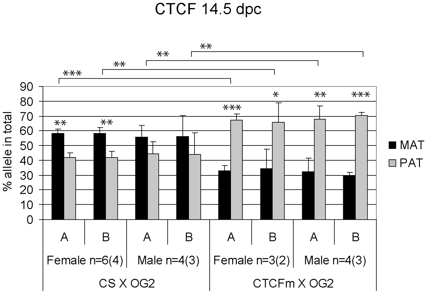 Allele-specific bias in CTCF binding chromatin at the <i>H19/Igf2</i> ICR in 14.5 dpc fetal germ cells.