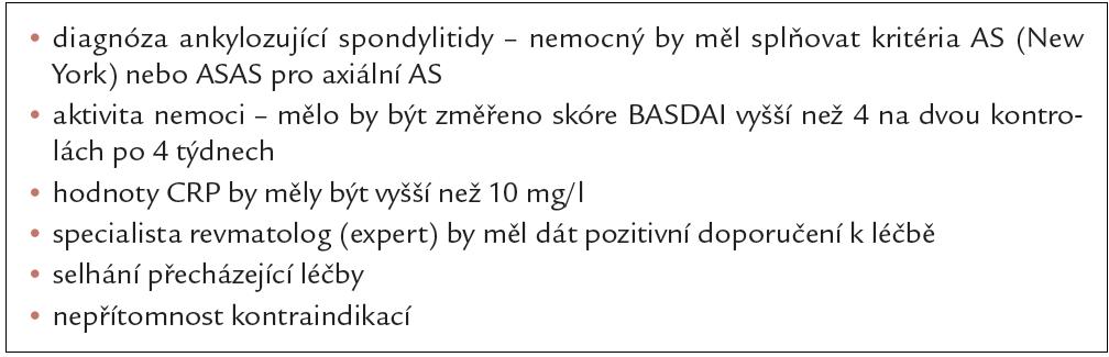 Indikační kritéria České revmatologické společnosti pro zahájení anti-TNF léčby u ankylozující spondylitidy.