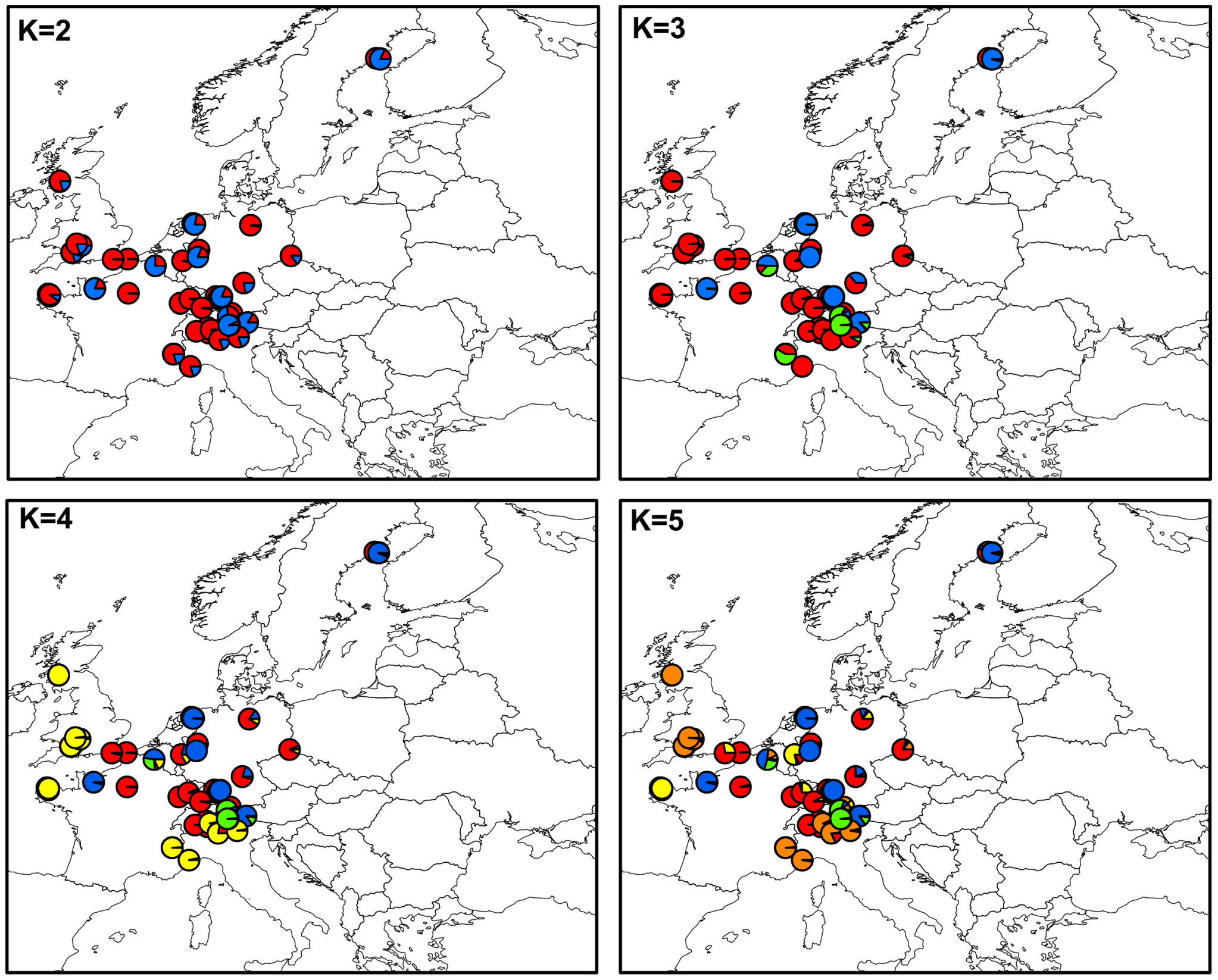 Maps of mean membership probabilities per locality from the InStruct analysis for <i>Microbotryum silenes-dioicae</i> (MvSd), assuming 2 to 5 clusters.
