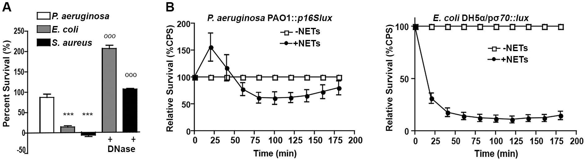 <i>P. aeruginosa, E. coli and S. aureus</i> differ in their ability to tolerate the bactericidal effects of NETs.