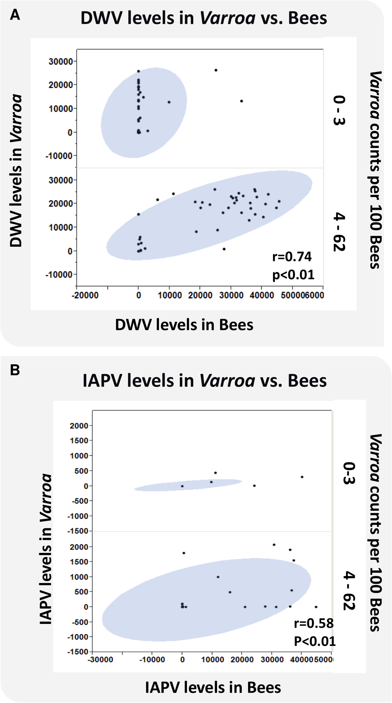 Virus levels of DWV and IAPV in bees and <i>Varroa</i> and the correlation to <i>Varroa</i> counts.