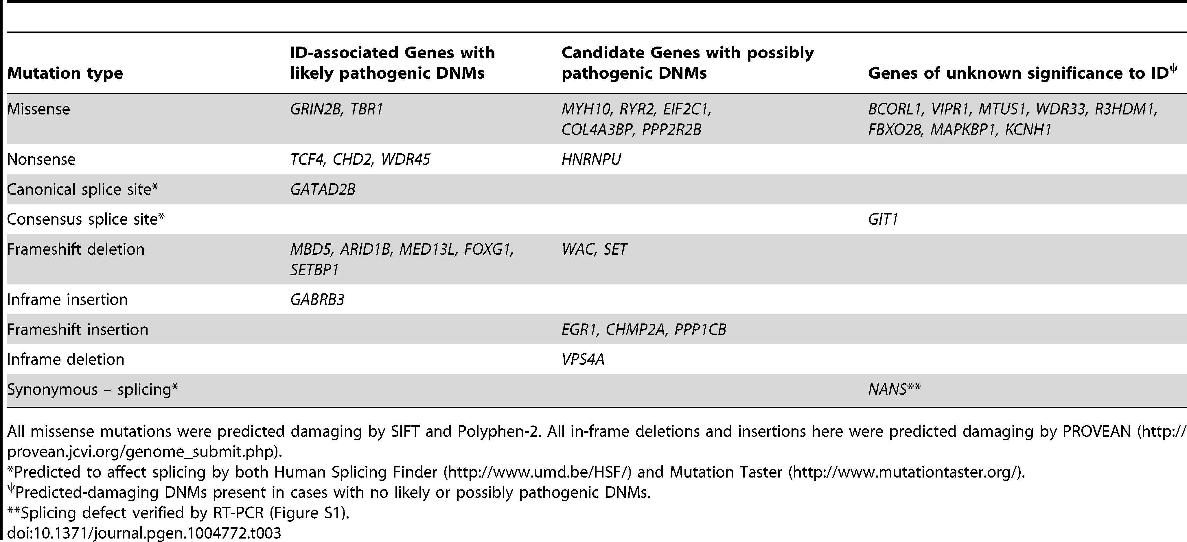 Genes affected by predicted-damaging DNMs identified herein and their implication in ID.