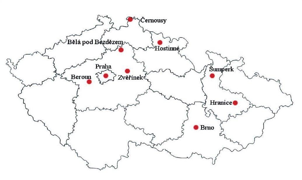 Místa v ČR s největším objemem výroby produktů s obsahem azbestu v minulosti.