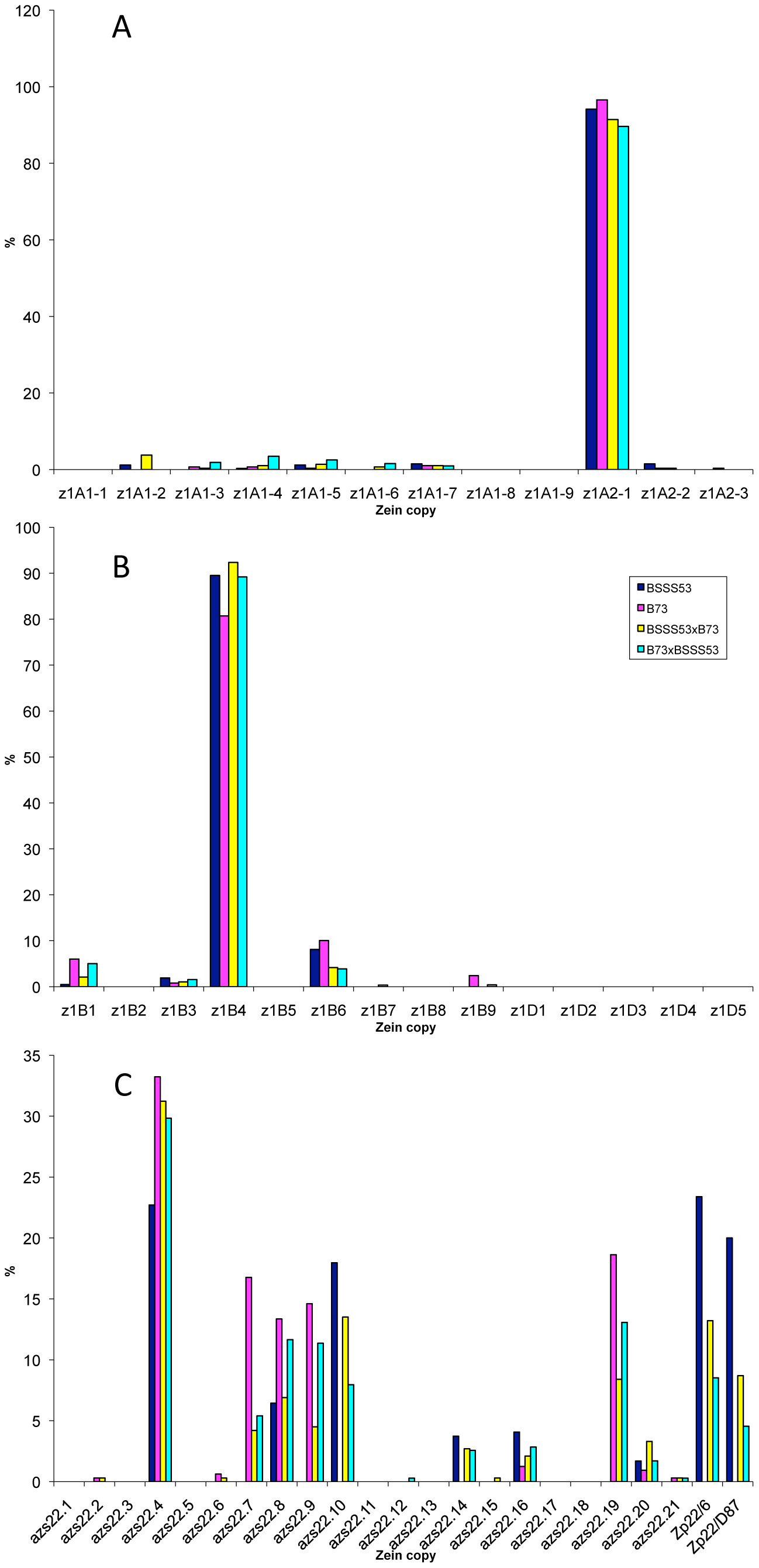 Transcript levels of the youngest zein gene copies prevail at each of the loci analyzed in B73, BSSS53, and their reciprocal crosses.