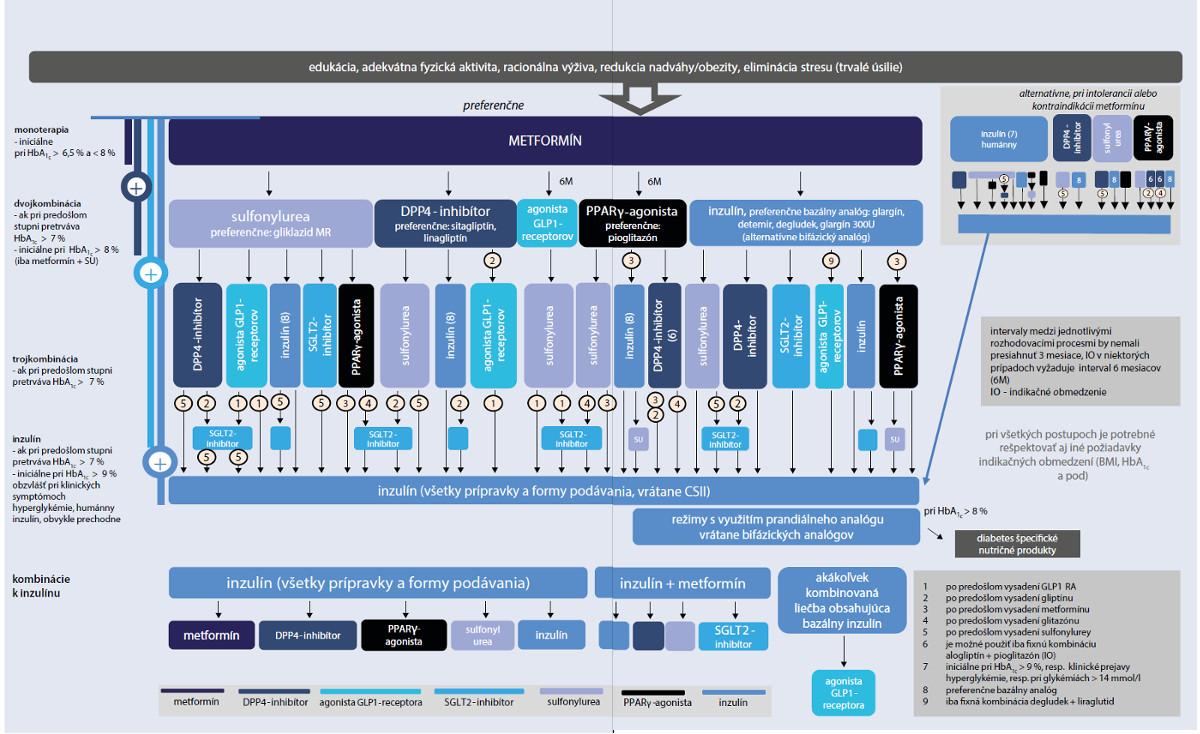 Schéma 2 Konsenzuálny terapeutický algoritmus pre liečbu DM2T (SDS 2016)