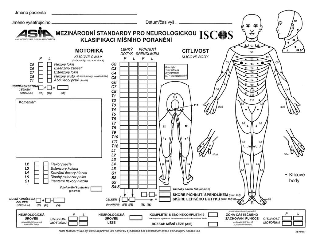 Obr. 1a) Mezinárodní standardy pro neurologickou klasifikaci míšního poranění 2011 – přední strana.