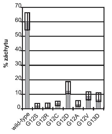 Souhrnné výsledky analýzy genu KRAS v České republice v roce 2009. Sloupce znázorňují celkový záchyt v jednotlivých kategoriích v %. Boxy vyznačují nejvyšší a nejnižší záchyt jednotlivých výsledků reportovaných českými pracovišti.