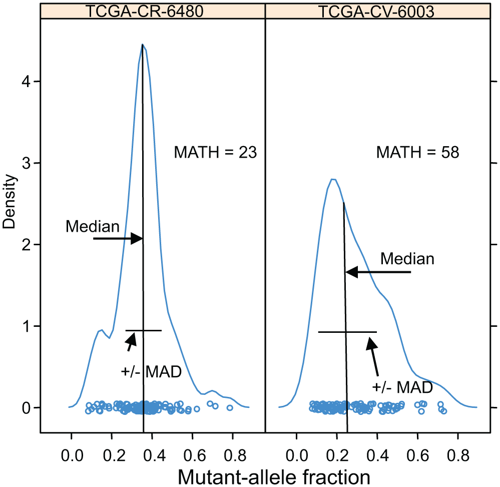 Examples of distributions of intra-tumor MAFs and their relation to MATH values.