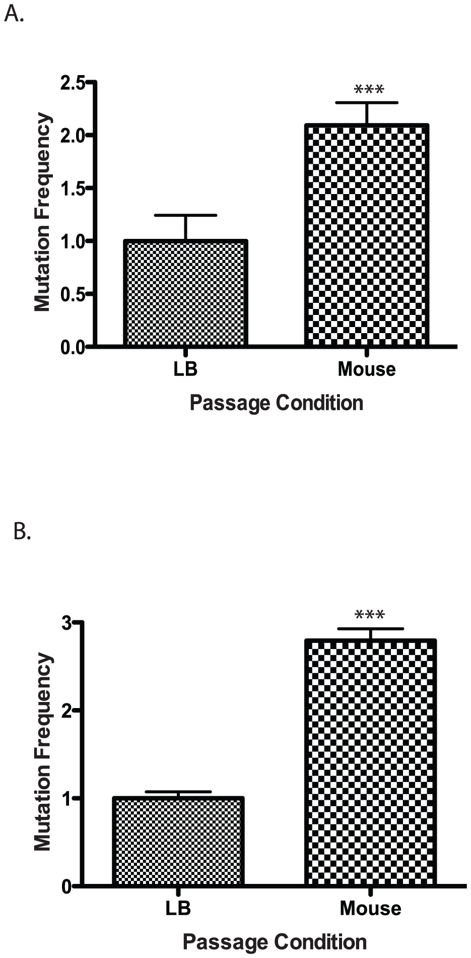 Mutation frequency of culture vs. mouse passaged wild type <i>V. cholerae</i>.