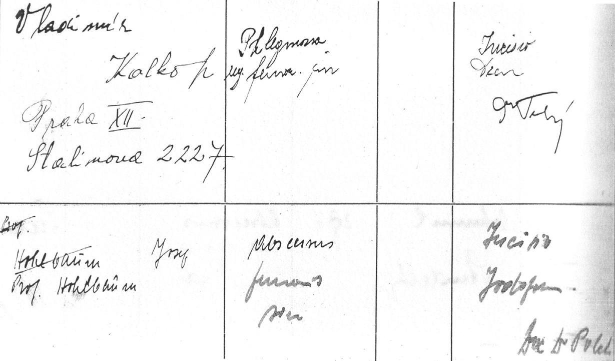 Zápis v ambulantní knize Chirurgického oddělení o ošetření J. Hohlbauma dne 7. 8. 1945. (Archiv FNKV) Fig. 7. Record of the ambulatory treatment of J. Hohlbaum from the August 7th, 1945. (Archives of the FNKV)
