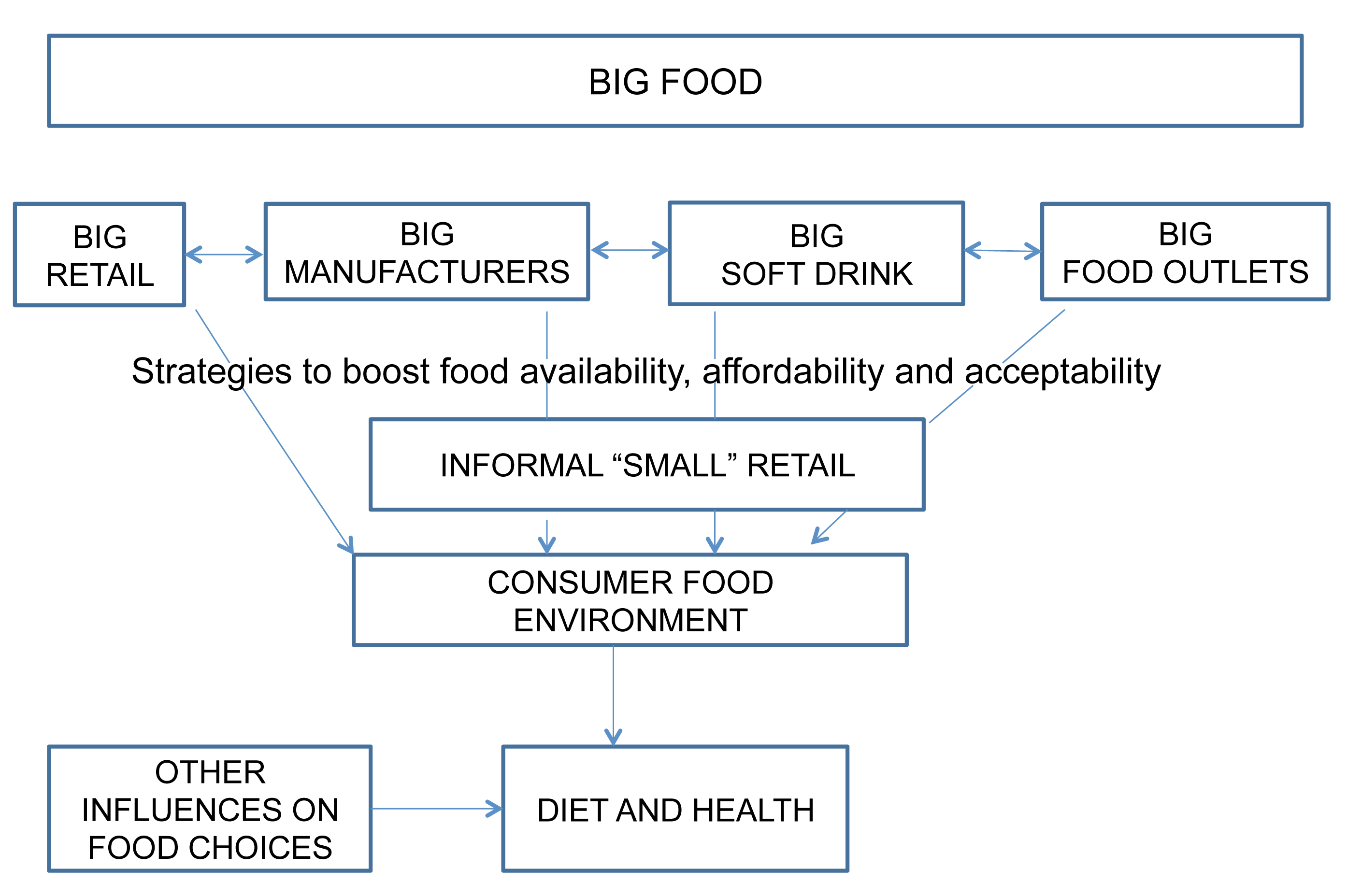 Hypothesized link between Big Food and the consumer food environment.