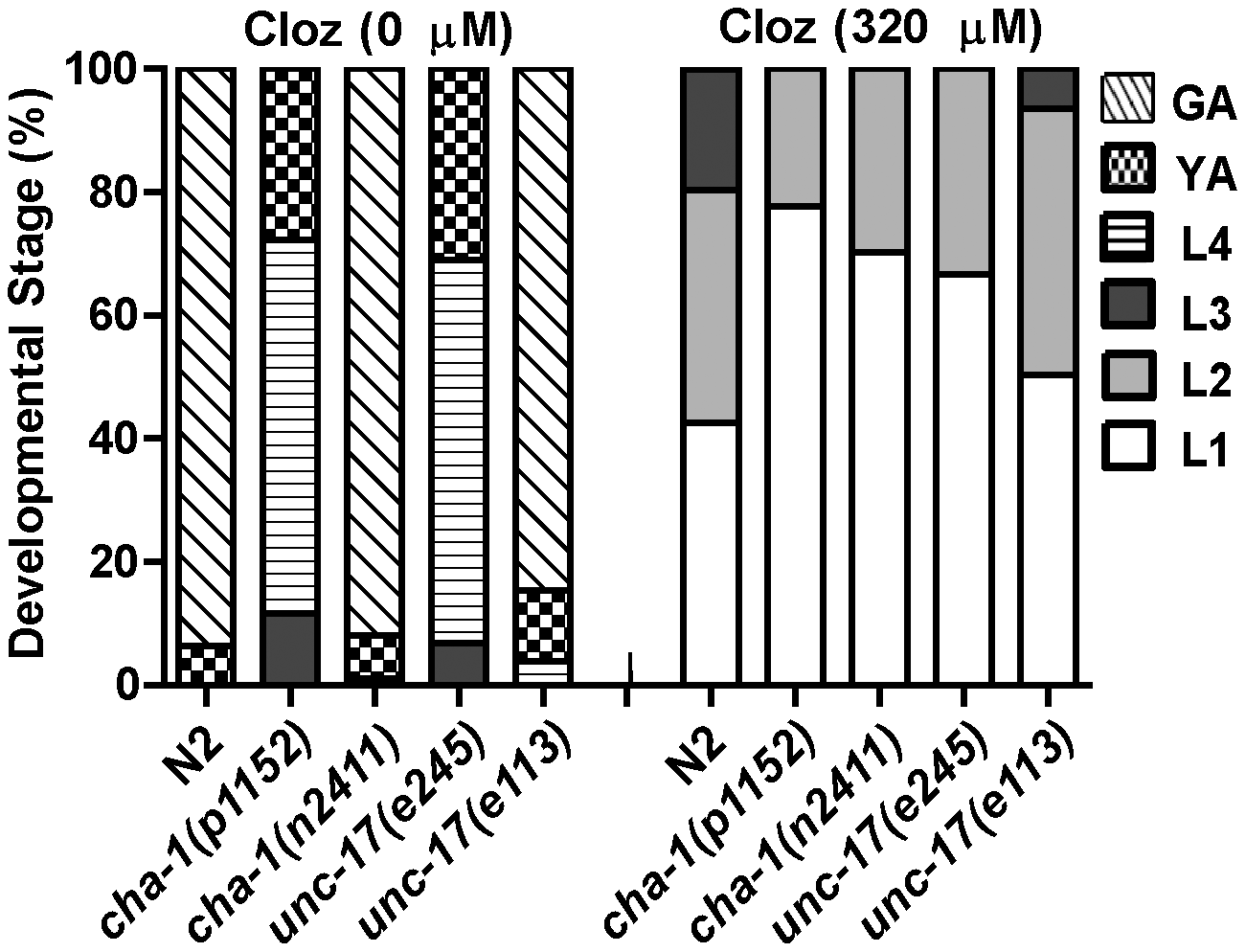 Ach release was not the mechanism of clozapine-induced larval arrest.