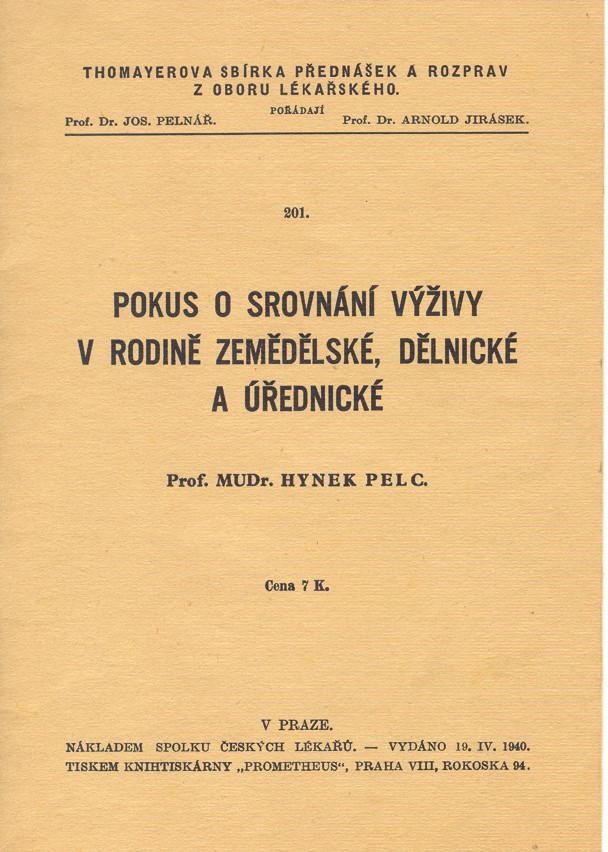 Titulní list Pelcovy publikace věnované významu výživy různých sociálních skupin