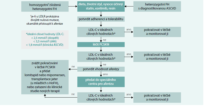 Schéma. Algoritmus a management léčby homozygotní/složené heterozygotní a heterozygotní familiární hypercholesterolemie, který zahrnuje terapii PCSK9i, lipoproteinovou aferézu a další strategie. Upraveno podle [22]