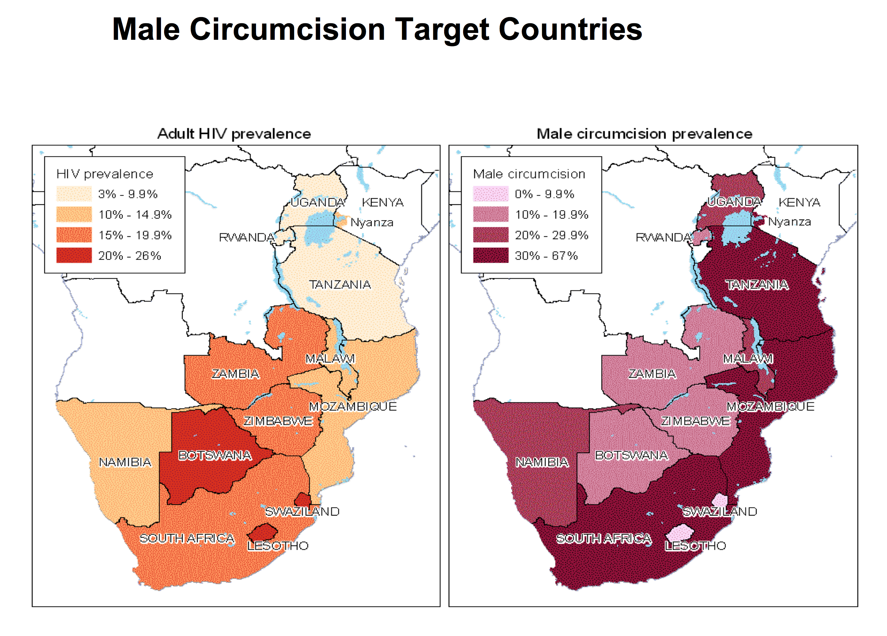 Geographic distribution of HIV and male circumcision prevalence.